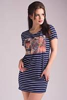 Молодёжное платье в полоску с принтом, короткий рукав. Арт-5432/55