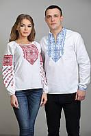 Стильные парные вышиванки с красно-синим орнаментом , фото 1