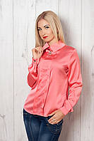 Обаятельная летняя блуза прямого кроя из атласного текстиля