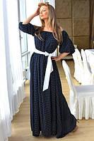 Женское платье макси  в горошек