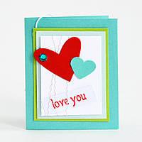 Мини-открытка ручной работы. Love you