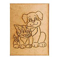 Раскраска для детей  Кот и собака