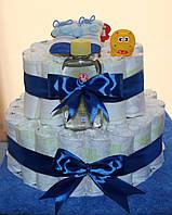 """Торт из подгузников (памперсов) для мальчика """"Бегемотик"""""""