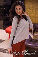 Серая модная женская туника с гипюром. Арт-5434/56