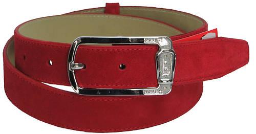 Женский замшевый кожаный ремень Skipper 5662 ДхШ: 118х3,5 см. красный