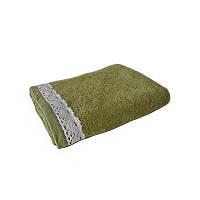 Полотенце махровое 40х70см оливковый с кружевом