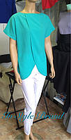 Модный женский костюм белые брюки+шифоновая бирюзовая блузка. Арт-5438/56