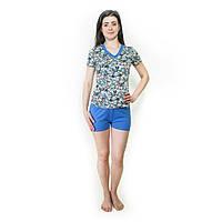Ночной комплект (шорты + футболка) Цветочки Синие