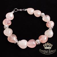 Розовый кварц, сердечки серебро, браслет