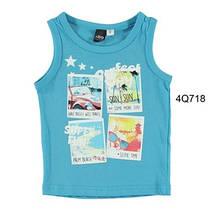 Верх лето топ , на груди - пляжные принты мал. голубой 100% хлопок 4.Q718 iDO, Италия