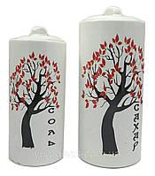 """Набор  ёмкостей для сыпучих продуктов  керамический 2-х предметный """"Дерево""""  ( Соль+Сахар) бел.глянец"""