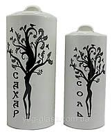 """Набор  ёмкостей для сыпучих продуктов  керамический 2-х предметный """"Дерево-дерево""""  ( Соль+Сахар) бел.глянец"""