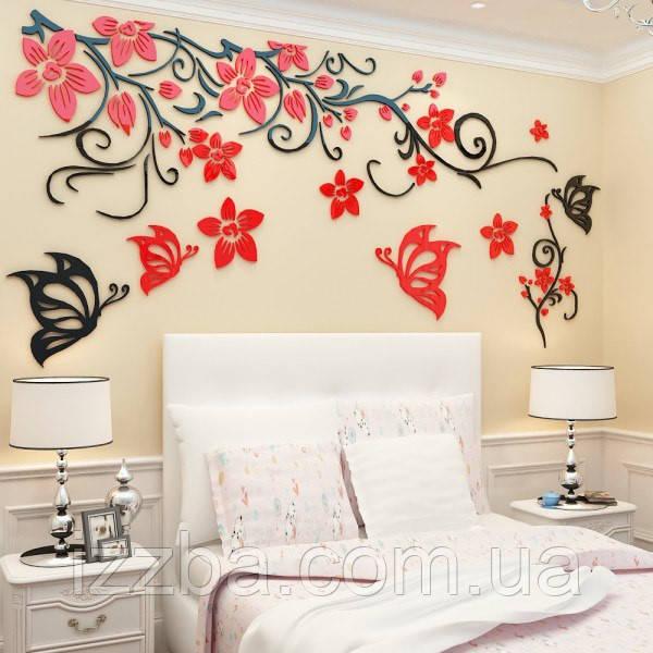 """Декор стены в спальне """"Бабочки"""". Декор из дерева"""