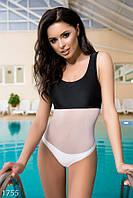 Цельный черно-белый женский купальник со вставкой из стрейч-сетки бифлекс