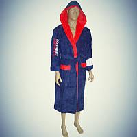 Мужской махровый халат с капюшоном Goodnight America Синий с красным  5007