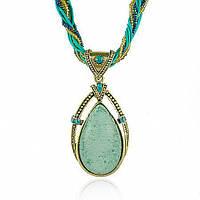 Ожерелье с голубым кулоном в стиле бохо