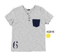 Верх лето футболка , тонкая синяя полоска, кармашек на груди слева, ворот с пуговичками мал. белая, 152см