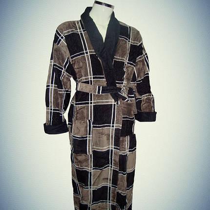 Мужской халат хлопок с воротником Клетка коричневая, фото 2