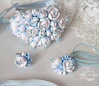 """""""Бело- голубой жасмин""""(браслет+кулон+кольцо) авторский комплект украшений с цветами из полимерной глины"""