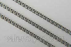 Серебряная цепь Бисмарк из черненого серебра