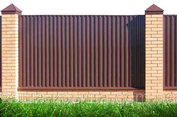 Профнастил стеновой. ПС 8. Профнастил для забора, фасада, фронтона глянец