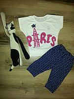 Летний костюм для девочки с БРИДЖАМИ Париж синий Склад 2