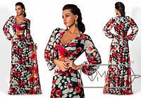 Модное женское платье в пол шикарное декольте