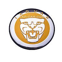 Колпачки заглушки для литых дисков Jaguar желтый с хромом