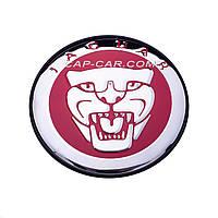 Колпачки заглушки для литых дисков Jaguar красный с хромом