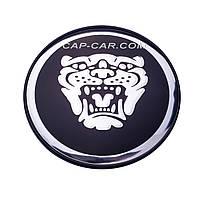 Колпачки заглушки для литых дисков Jaguar черный с хромом без надписи