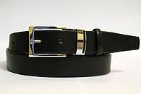 Кожаный ремень 35 мм чёрный гладкий металический тренчик пряжка хром серебристая