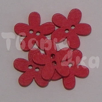 Пуговица деревяная цветок 15 мм красная