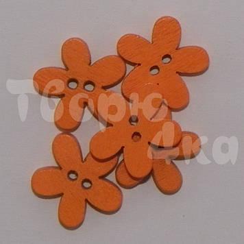 Пуговица деревяная цветок 15 мм оранжевая