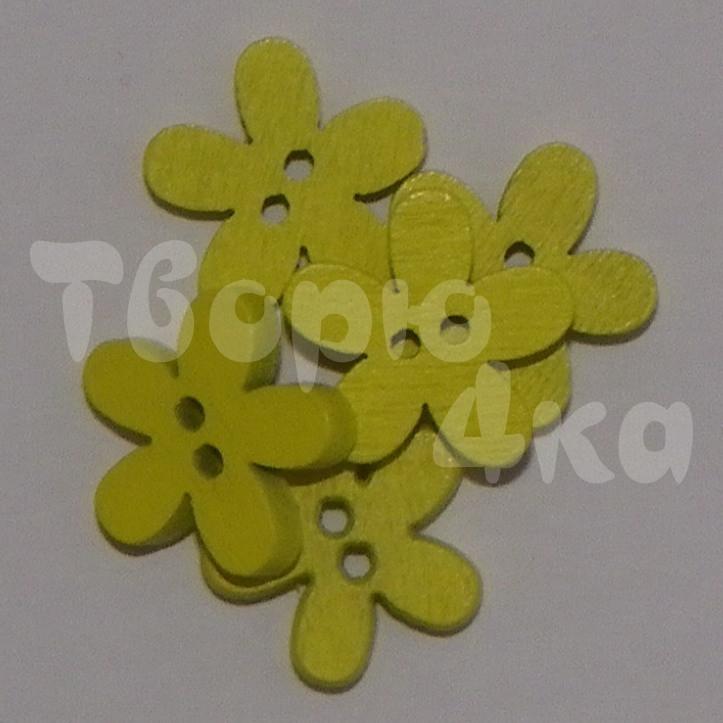 Пуговица деревяная цветок 15 мм желтая