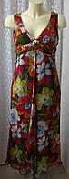 Платье женское летнее шелковое в цветах бренд Kaliko р.44 6504