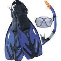 Набор для плавания стеклянная маска, трубка с клапаном, ласты с регулировкой