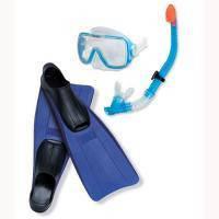 Набор для плавания ласты с закрытой пяткой, маска стеклянная, трубка с клапаном Dolvor