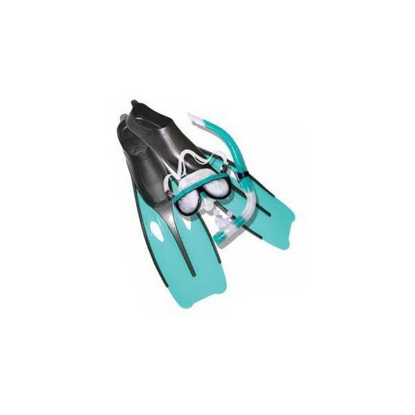 Набор для плавания Dolvor ласты галоша, маска стеклянная, трубка с клапаном