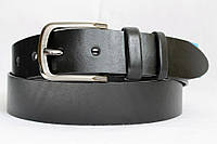 Ремень кожаный класический 40 мм чорный гладкий пряжка матовая