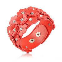Красный кожаный браслет с цветами