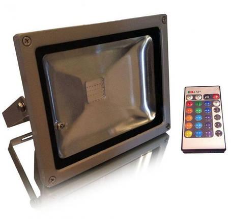 Светодиодный прожектор RGB 20 Вт пульт в комплекте IP65 серебро Код.56676, фото 2