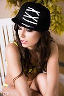 Ультрамодная женская кепка с прямым козырьком и декоративной шнуровкой коттон