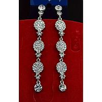 Серьги длинные, в восточном стиле с камнями, серебристый металл 001507