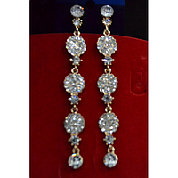 Серьги длинные, в восточном стиле с камнями, золотистый металл 001508