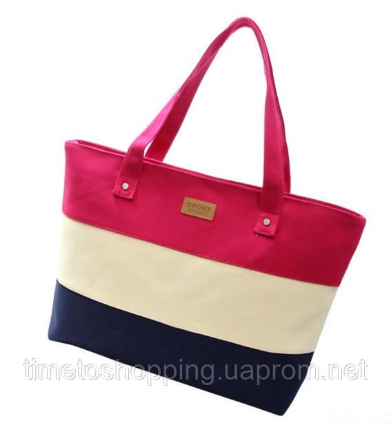 Женская сумка. Пляжная сумка Малина