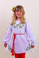 """Детское вышитое платье """"Ромашки""""- материал домотканое полотно; габардин"""