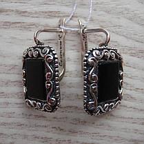 Оригинальные серебряные серьги с искусственным ониксом, фото 3