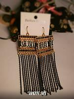 Женские Модные Длинные Серьги под золото черные Forever 21 самый новый дизайн кисточка мода 2015