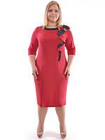 Платье большого размера красное, фото 1