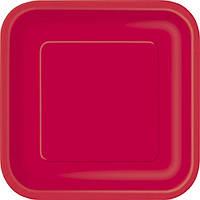 Бумажная одноразовая тарелка квадратная - Ruby Red